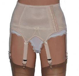 Vintage Style 6 Strap Suspender Belt with Side Opening in Beige, Black or White